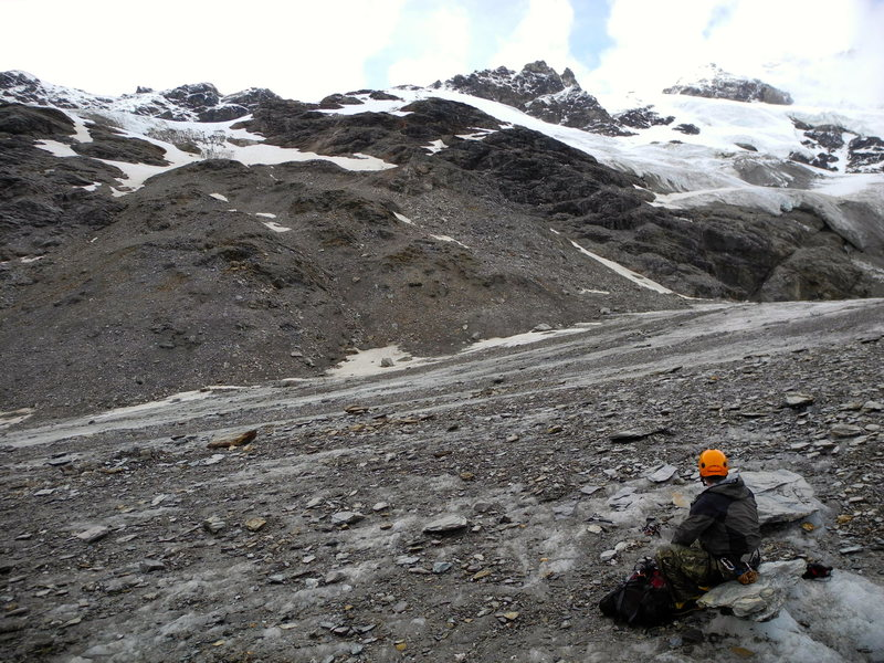 Rock Climbing Photo: Looking up at the route onto SIlvertip's north rid...