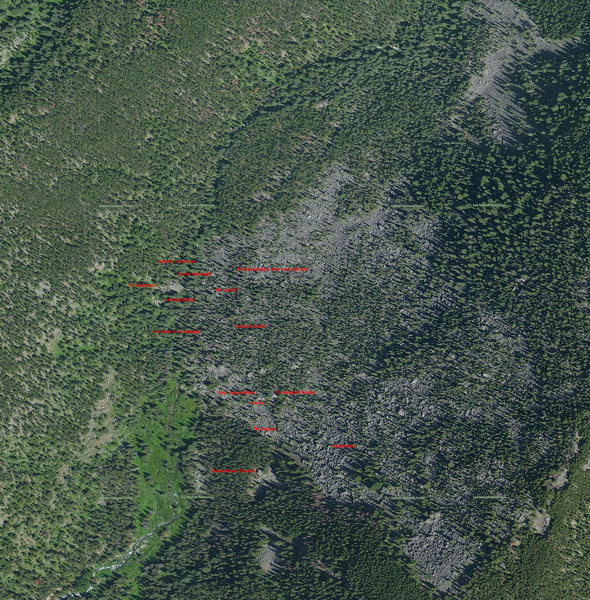 A nice overview of the talus field and approximate locations of the developed boulders