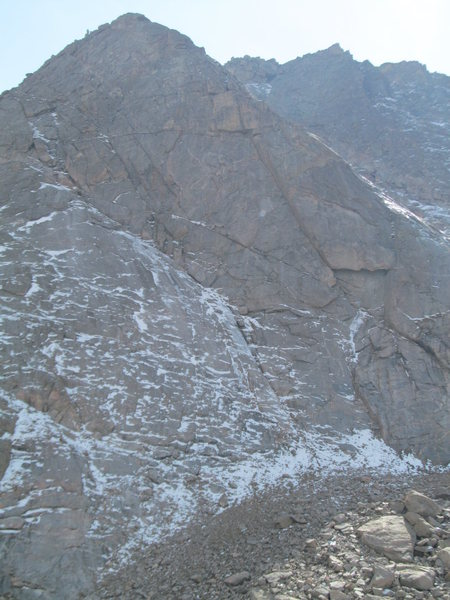 Rock Climbing Photo: The Bib takes the obvious ice smear up the left-ar...