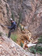 Rock Climbing Photo: The rappel down to the base of the waterfall wall.