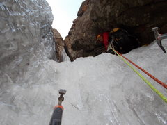 Rock Climbing Photo: Top out P1, Carl Pluim belaying.