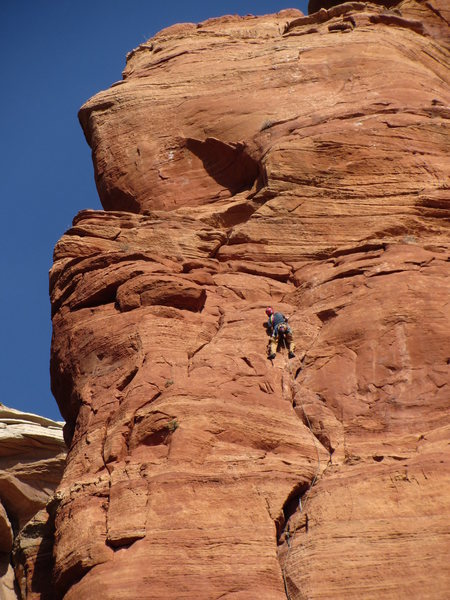 above the crux on p2
