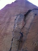 Rock Climbing Photo: Elliott lowering after cleaning the Karate Crack. ...