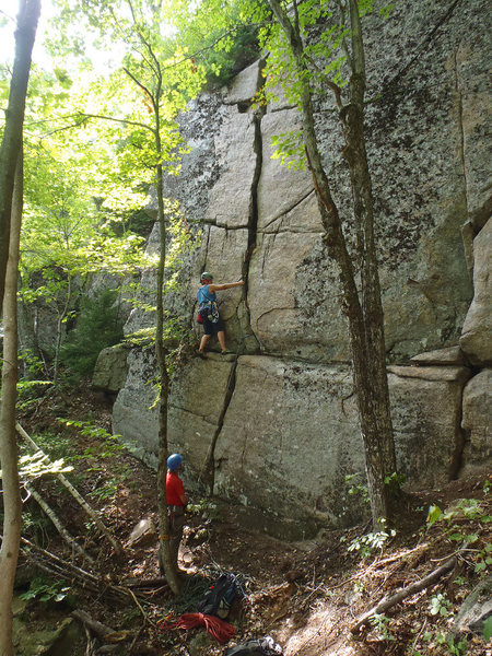 Val on her first ascent of Kill It Before It Spreads, 5.7+ Crane Mountain, ADKs NY.