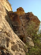 Rock Climbing Photo: Mediasa is the crack on the right...the crux is in...