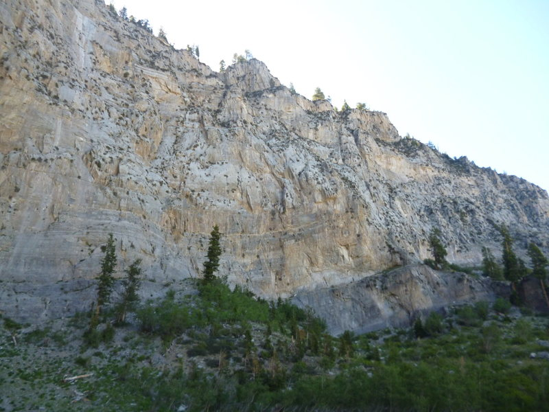 View of the 900ft. East Face and Sesame Street, the dark grey limestone slab tucked in low and right