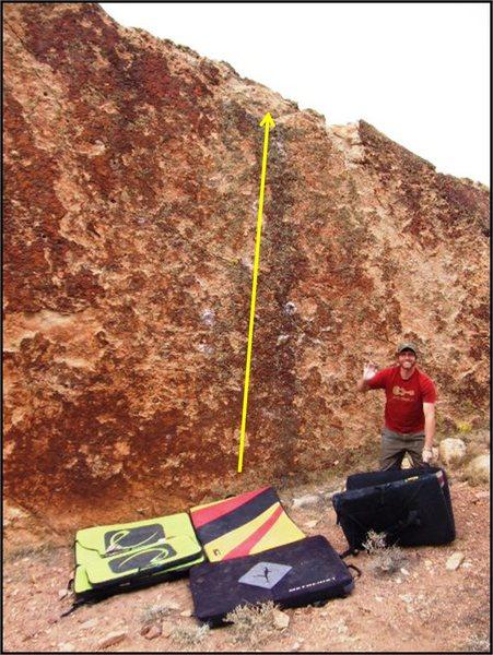 Rock Climbing Photo: Three Cry Try problem on Teri's Slab.  Brad adds s...