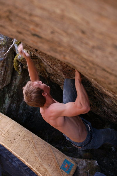 Rock Climbing Photo: Ryan going for the final jug leading to the top ou...