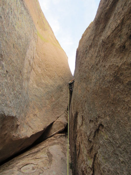 Clay battles the crux pitch