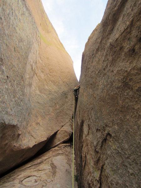 Rock Climbing Photo: Clay battles the crux pitch