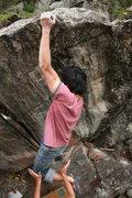 Rock Climbing Photo: Tony on the FA of Tony's Jump Problem