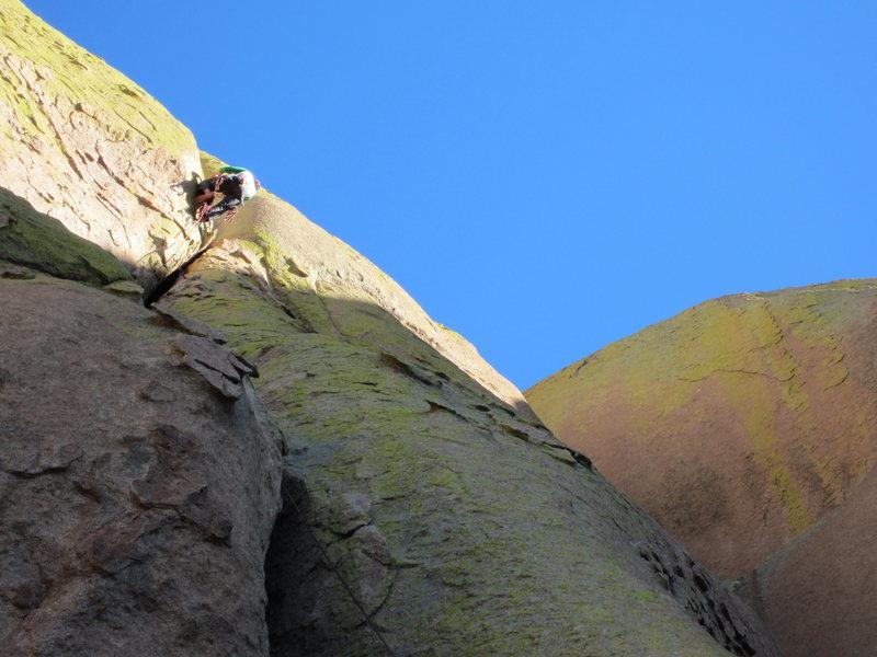 Climber atop pitch 1