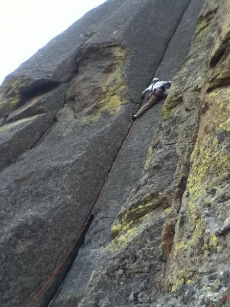 Rock Climbing Photo: My lead on Assembly Line, Devils Tower