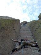 Rock Climbing Photo: My lead on El Matador, Devils Tower
