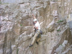 Rock Climbing Photo: My lead on Illegal Dihedral, Cody, WY