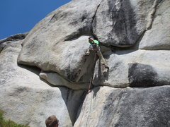 Rock Climbing Photo: moving through the bulge