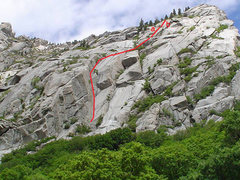 Rock Climbing Photo: a=Hand Crack b=Squeeze Chimney to left of bolted l...