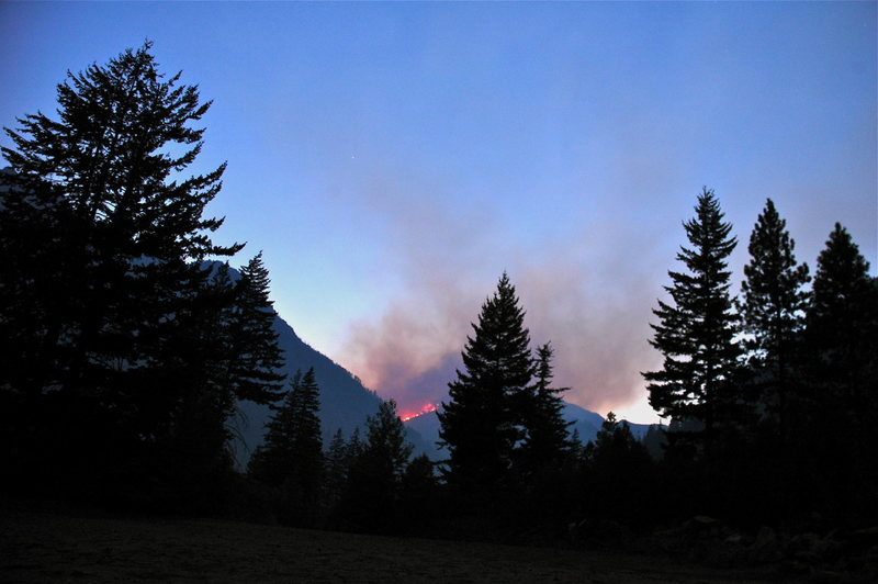 Rock Climbing Photo: Leavenworth Fire as seen from Icicle Rd