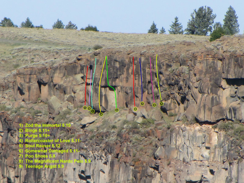 Rock Climbing Photo: Approximate route locations.  The photo was taken ...
