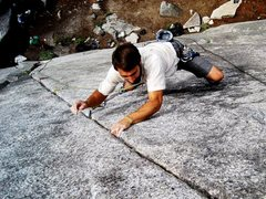 Rock Climbing Photo: Crimping through the final moves on Peaceful Warri...