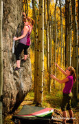 Rock Climbing Photo: Annie working on a problem next to the Minturn Mil...
