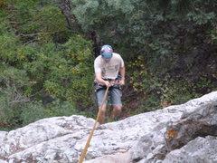 Rock Climbing Photo: Aaron rapping off!