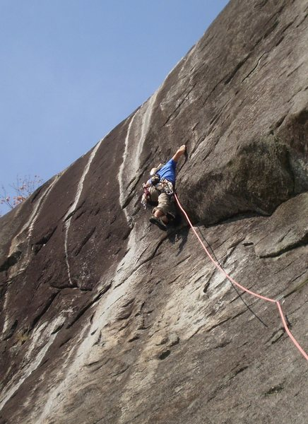 Rock Climbing Photo: Starting the P2 crux section through the headwall....