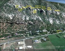 Rock Climbing Photo: Google Earth of the East Animas crags. The approac...