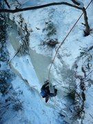 Rock Climbing Photo: Green Pillar, WI4, Catskills, NY. January, 2012
