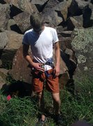 Rock Climbing Photo: Drew putting on his new harness!