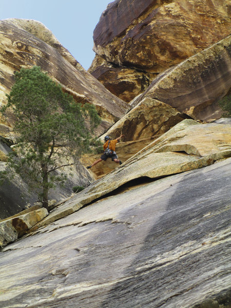 Jonny on Soylent Greenjeans, Red Rock, Willow Springs. I never get tired of this climb!! Sept 2012. Photo by Gigi.