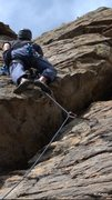 Rock Climbing Photo: Pulling through the big overlapping roof.   Photo ...