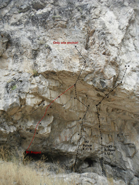 Rock Climbing Photo: the upper cave, L to R. 1. Project 2. pulsar 5.13 ...