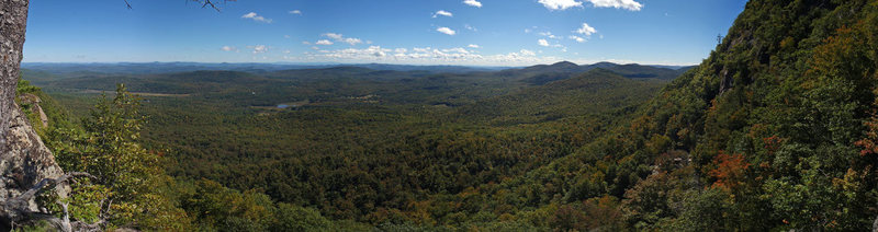Panoramic views from the top of pitch 2, Carpenter and Das 5.7+ Crane Mt, ADKs, New York.