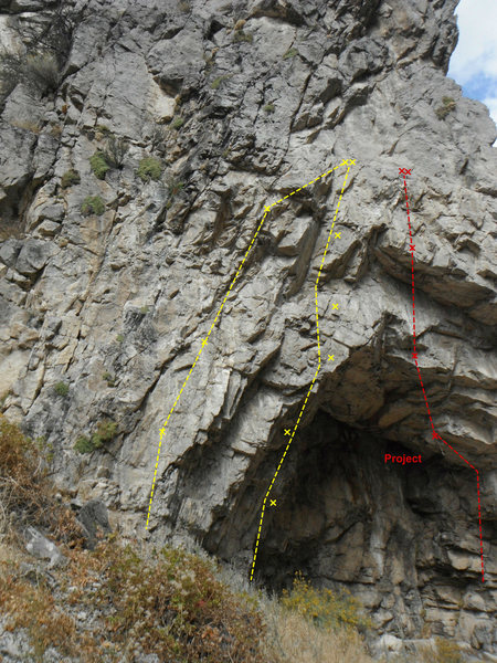 The left side of Lower Solar cave.  Left to right.<br> 1. Sun Dance 5.12A<br> 2. Sunkissed 5.13A<br> 3. Project
