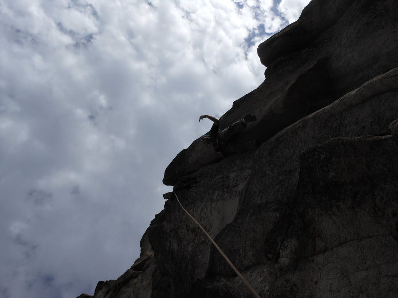 Rock Climbing Photo: Mootard flipping off the climb during the first FR...