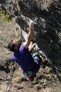 Rock Climbing Photo: jeff, sticking the big throw... just a few more to...
