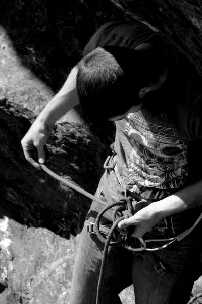 Rock Climbing Photo: jeff gets tied in for a redpoint attempt...