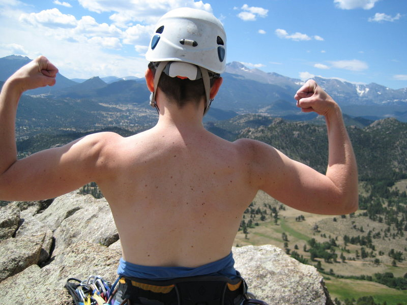 Rock Climbing Photo: topless on top