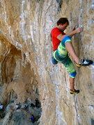 Rock Climbing Photo: Eric nearing the crux on a flash of Mon B.