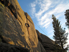 Rock Climbing Photo: D tries some jams on the steep crux. Don't climb t...