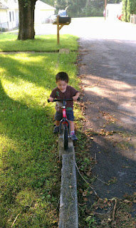 Rock Climbing Photo: Jack riding his balance bike practing his trials s...