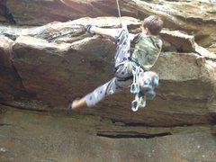 Rock Climbing Photo: Ben pulls the roof.