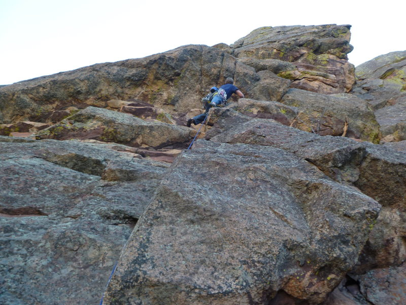 Approaching the crux roof.