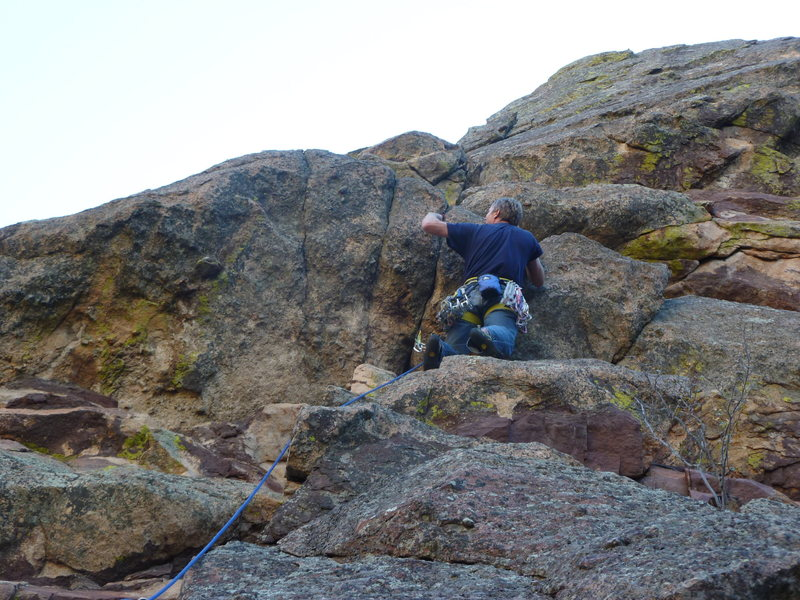 Rock Climbing Photo: Placing pro at the crux.