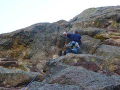Rock Climbing Photo: Placing pro at the crux.
