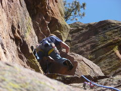 Rock Climbing Photo: On the 5.8 crack variation, second pitch.
