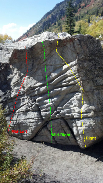 The right half of the South Face of the Eastern-most warmup boulder. Make sense?<br> You could literally climb all over this face and make things as easy or difficult as you like. Many possibilities exist here!
