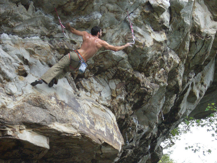 Long clip before crux moves.