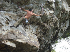 Rock Climbing Photo: Long clip before crux moves.